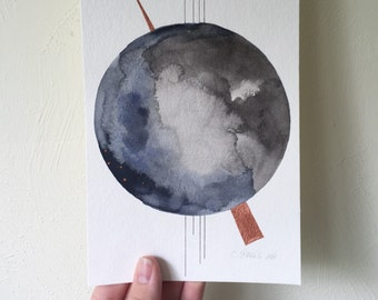 Abstract Moon Painting - 5.5x8.5 Watercolor  and Ink on Paper