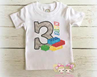 Building Blocks Birthday Shirt - birthday shirt for boys - colorful building blocks birthday shirt - embroidered birthday shirt for boys