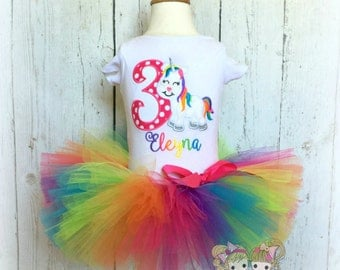 Unicorn Birthday outfit - Rainbow unicorn outfit -First birthday outfit - rainbow unicorn tutu - embroidered birthday outfit