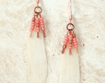 Natural Petal Jewelry - White Daisy Pressed Flower Earrings with Copper & Coral Glass Beads