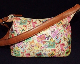SALE Leather FOSSIL Butterfly Postage Stamp Satchel Shoulder Bag 1060