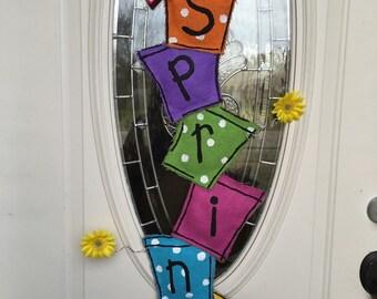 Spring Door Hanger - Flower Pot Door Hanger - Burlap Door Hanger