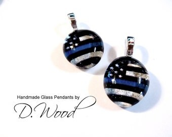 Thin Blue Line Pendant, Back the blue Necklace, law enforcement gift Glass, blue lives matter Love,  glass Gem, police, swat, blue line gift