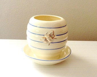 Honey Pot Honey Jar Ceramic Made in Japan Bee Jam Jar Kitchen Decor Creamy White Blue Stripes Bees Collectible Vase