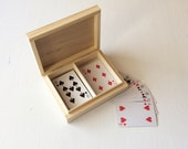 """wooden box for playing cards / 2 compartments box / wooden case 6"""" x 4.9"""" /  box for pyrography / for decoupage / gift for man"""