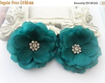 ON SALE Teal Silk Flowers with Rhinestone Center. 2 Piece. CELINE Collection