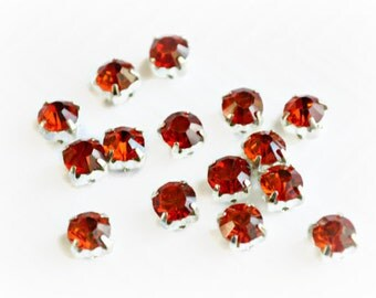 6mm Sew On Red Rhinestones.  Red Glass Buttons. Red Crystals. 20 Pieces. NEW Color!!!