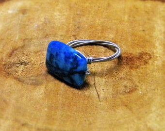 Guitar String Ring with Blue Lace Agate