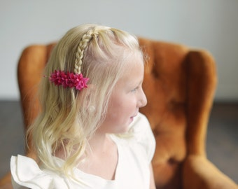 The Wood Anemone: Flower Girl Hair clip in Fuchsia pink