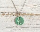 Ceramic Mermaid Pendant, Jade Green, Unique Gift, Ocean, Mermaids, Beach, Gift for Her, Ceramics, Mermaid Jewelry, Ceramic Jewelry