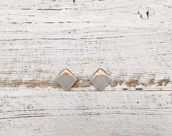 Ceramic Square Earrings, Modern, Soft Grey, Rose Gold, Minimal, Unique Gift, Ceramics, Gift for Her, Fashion, Ceramic Jewelry