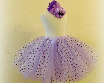 girls polka dot tutu girls skirt purple polka dot tutu skirt tulle skirt birthday tutu skirt purple birthday tutu and hair clip