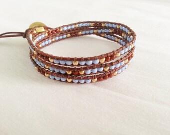Skinny 3x wrap leather bracelet, mix seed beads, byrgundy, light blue, cognac vintage color leather
