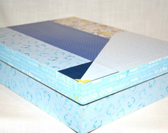Baby Boy Memory or Keepsake Box.  Makes the ideal gift for Baby  Shower, Christening, Baptism, Memorial, Time Capsule. Can Personalize