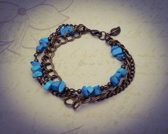 Turquoise Gemstone and Bronze Chain Layered Boho Chain Bracelet - [B23]