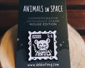 Astronaut Stamp Enamel Pin: MOUSE EDITION