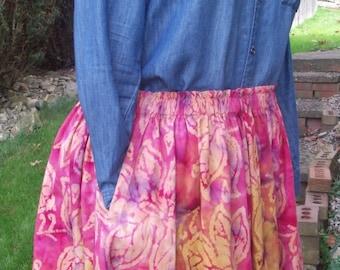 Ethnic Batik Tie Dye Skirt - Size XL/Plus