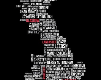 Customisable UK Typographic Map (England, Scotland & Wales) – A3 Poster Print