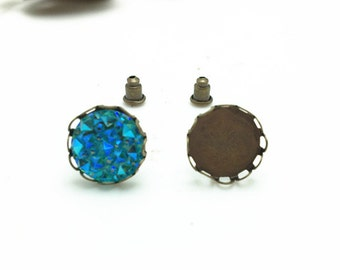 Stud Earrings -20pcs Antique Bronze Brass 12mm Round Cameo Cabochon Base Setting Stud Blanks LB503-2