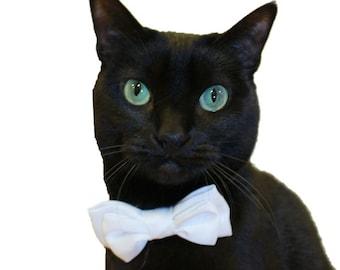 Bow Tie Cat Collar - Double Satin Bow Tie Cat Collar - Custom Cat Collar - Wedding Colors Available -Cat Tuxedo