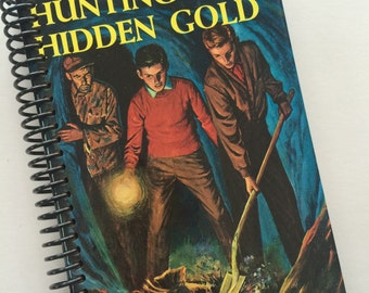 HARDY BOYS book journal notebook VINTAGE Recycled Upcycled Spiral Bound - Hunting for Hidden Gold Franklin Dixon