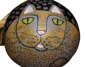 Decorative Hand Painted Grey Gold Spotted Cat Shatterproof Ball Ornament