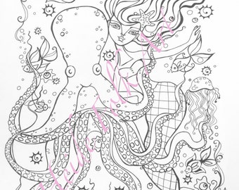 Mermaid coloring book pages for adults. Packet 3.
