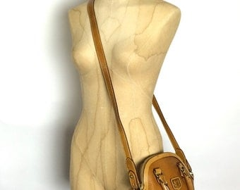 Vintage Leather Purse - Tan Satchel w Crossbody Strap