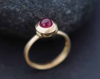 Gold Ruby Ring - 18K Gold Ruby Ring - Cabochon Ruby Ring in Yellow Gold - Unique Ruby Ring - Handmade Engagement - FREE SHIPPING