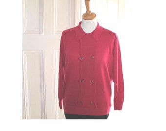 Vintage Aquascutum 100% wool double breasted bright pink sweater. As new, unworn