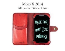 Moto X 2014 (2nd Gen) Leather Wallet Case - No Plastic - Free Inscription