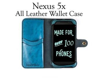 Nexus 5x Leather Wallet Case - No Plastic - Free Inscription