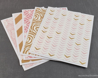 Assorted Cards, Set of Cards, Blank Greeting Cards, Stationery Cards, Blank Cards, Handmade Cards, Greeting Card Set, Pink Cards, Note Cards