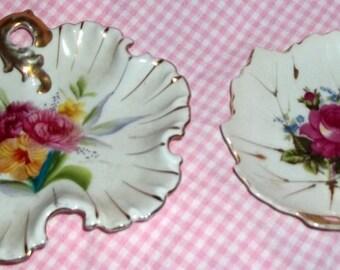 Vintage, Trinket dish, Set of Two, Nasco, Rose Dish, Leaf Design, vanity dish, candy dish, Leaf Shape Dish