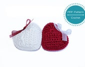 crochet heart pattern, puffy crochet heart valentines, Christmas ornament gift decoration, easy beginners pattern