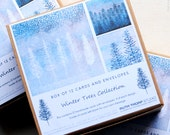 Winter Trees - Box of 12 Christmas Greeting Cards CODE: WT B95/12, landscape, forest, trees, festive, snow