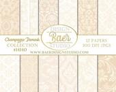 50% off:Digital SCRAPBOOK BACKGROUND PAPER, Champagne Digital Paper, Hochzeitseinladung, Champagne Damask Digital Paper, Buff Paper, #14140