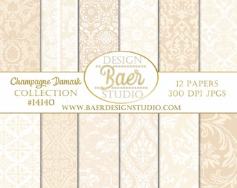 Digital SCRAPBOOK BACKGROUND PAPER, Champagne Digital Paper, Hochzeitseinladung, Champagne Damask Digital Paper, Buff Paper, #14140