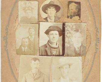 Miniature Portraits Collage cabinet card 1 of 2 portrait vernacular photography found photo albumen silver gelatin