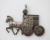 Vintage Horse Drawn Carriage Charm Pendant - Amish Horse Buggy Charm - Silver Tone Flat Horse Charm