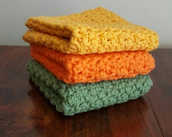 Textured Crochet Dishcloths, set of three