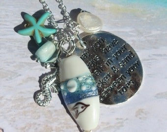 Long Beach Charm Necklace, Lampwork, Larimar, Freshwater pearl, starfish and Seahorse, Beach Jewelry Gifts, Inarajewels