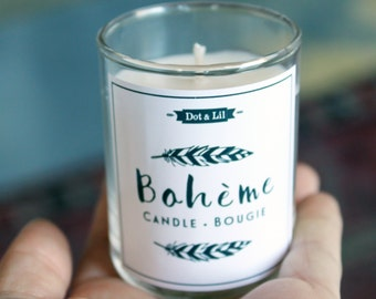 Set of 100 SMALL custom wedding candles, Bohème black and white design mini soy wax candles with names and dates