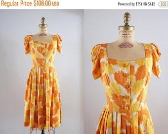 SALE 20% OFF Vintage 1950s Marigold Dress / 50s orange & yellow floral raw silk party dress / Medium M