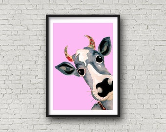 Girl Cow - Cow - Pink - PRINT of original artwork