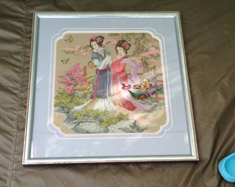 Geisha cross stitch,Garden cross stitch, finished cross-stitch, Asian cross stitch, Japanese cross stitch, flower cross stitch, garden