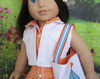 Yacht Club Dress, Denim Jacket, Crocheted Hat, Boat Tote, and Shoes for 18 Inch Dolls Such as AG Dolls