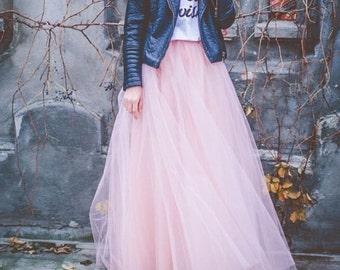 Light, Pale  Pink Maxi tulle skirt, tutu skirt,floor length tulle skirt, pastel colors tulle skirt