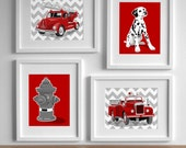 Fireman Nursery Art, Fire Fighter Decor Fire Truck art, vintage fire engine nursery - set of 4 Chevron nursery art for boys