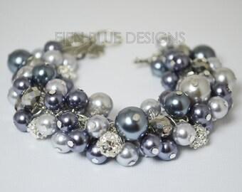 Gray Pearl Bracelet, , Pearl Bracelet, Pewter Chunky Bracelet, Chunky Pearl Bracelet, Gray Bridesmaid Bracelet, Bridesmaid Pearl Jewelry